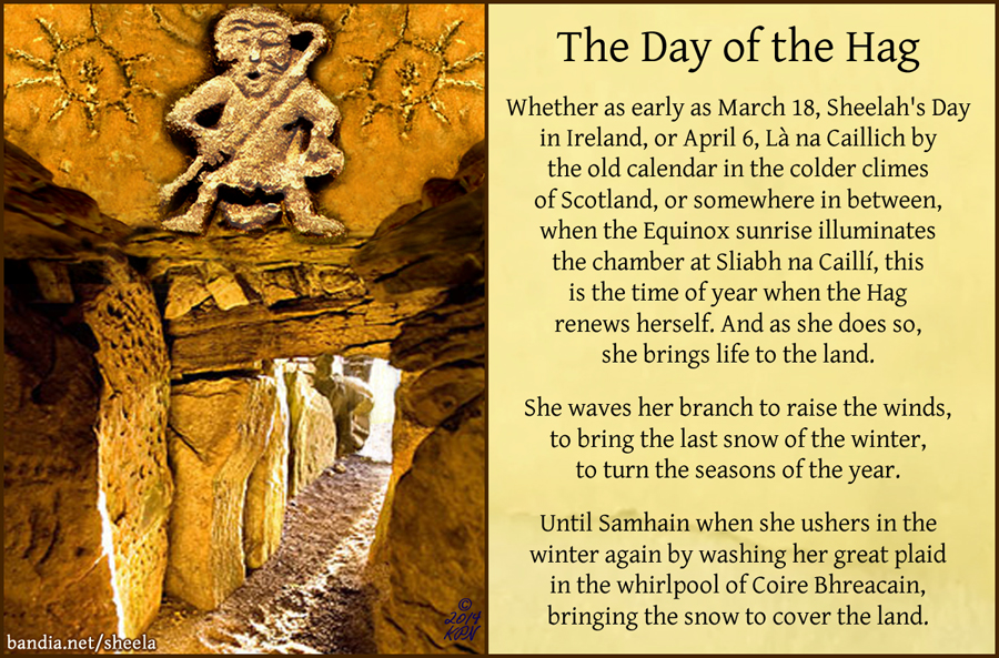 Day of the Hag: Latha na Cailliche, Sheelah's Day, Spring Equinox. Photo collage and text copyright �14 Kathryn Price NicDh鄋a, kpn/katharsis ink